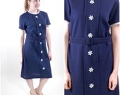 Vintage 60s Navy Blue Dress / Flower Power Dress / Daisy Button Dress / 60s Mod Dress L - VintageEdition