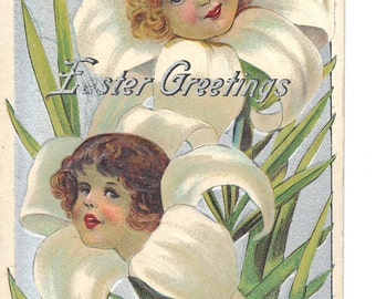 Easter Greetings Antique Postcard Young Girls and Easter Lilies