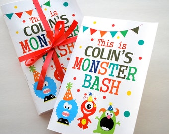 6 Monster Coloring Books,  Cute Monster Birthday Coloring books, Monster Bash Personalized Coloring Books Party Favors  A557