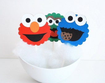 Sesame Street Cupcake Toppers, 12 Sesame Street Inspired  Cupcake Toppers, Cookie Monster, Elmo and Oscar A608