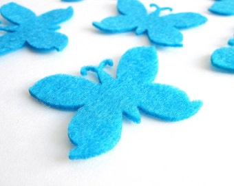 24 Felt Butterflies, Die cut,  2 inches wide by 1.5 inches tall A736