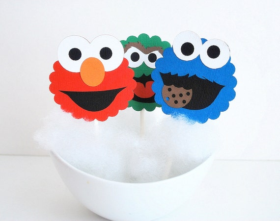Elmo Birthday Party Ideas to create the perfect Elmo Birthday Party by MariaPalito: Sesame Street Cupcake Toppers, 12 Sesame Street Inspired Cupcake Toppers, Cookie Monster, Elmo and Oscar A608