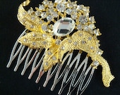 Sparkling Gold Bridal Rhinestone Hair Comb / Gold comb / gold hair comb