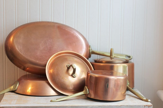 6 Pc Paul Revere Limited Edition Copper Pots Pans Oval Brass