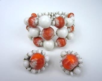1960s Hobe Bracelet Earring Set/ Coral And White Bracelet Set/ Wrap Bracelet