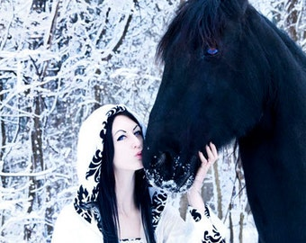 medieval dress, renaissance dress, vampire dress, hooded gown, gothic dress, elven dress,winter wedding dress,custom made