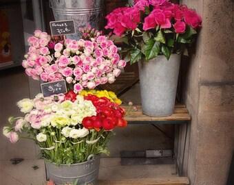 Paris, Flower Shop, Roses, Tulips, Ranunculus, Fine Art Photography, Margaret Dukeman