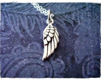 Tiny Silver Angel Wing Necklace - Sterling Silver Angel Wing Charm on a Delicate 18 Inch Sterling Silver Cable Chain