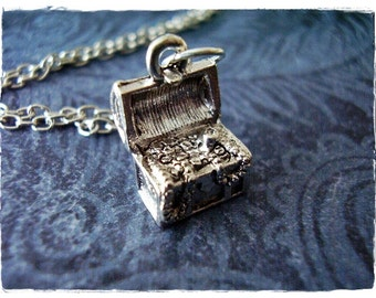 Silver Treasure Chest Necklace - Silver Pewter Treasure Chest Charm on a Delicate Silver Plated Cable Chain or Charm Only