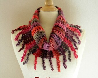 Crochet Scarf Cowl PDF Pattern Bay Breeze Beautiful Fringe