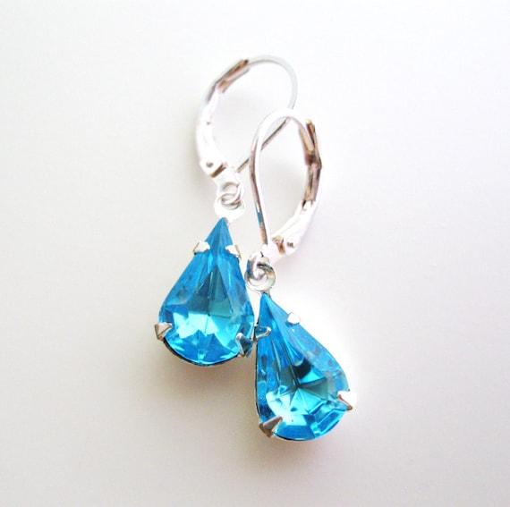 Aquamarine earrings - blue rhinestone estate style teardrop earrings in silver - water drops