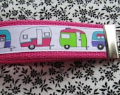 Retro Camper Key Fob Wristlet Key Chain on Hot Pink - Campers - Camping