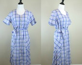 60s Purple Plaid Dress / 1960s Day Dress / Madras Stripe Shirtdress Ted Arcuni L