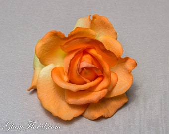 Coral Orange Rose Hair Clip/ Brooch, Real Touch Rose Fascinator for bridesmaids, tangerine, fresh realistic look