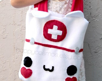 Cat Nurse Tote Bag Bag - Schoolbag, Backpack, Bookbag, Animal Tote Bag, Doctor Bag, Colorful Handmade Tote, Women's Tote,  Christmas Gift