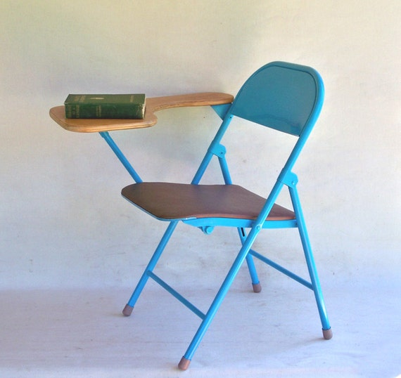 Mid Century Folding Desk Chair Student Desk by leapinglemming