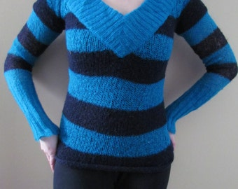 Electric Teal and Black Striped Sweater