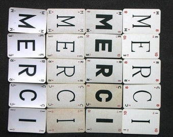Say MERCI in so many fonts. Vintage French letter cards set.