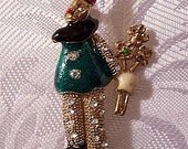 Circus Clown Flowers Pin Brooch Gold Tone Vintage Round Crystal Pants Green Black Jacket Red Nose Hats Beige Gloves