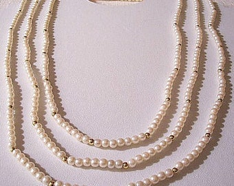 White Pearl Necklace Gold Tone Vintage Avon 68 Inch Opera Length Round Beads Small Spacers