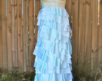 Custom strapless Wedding dress- Sweetheart neckline- Long length, ruffles, dyed, lace, bride, bridal, handmade, upcycled, avant gard, prom
