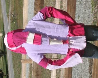 Purple Pink Elf Tunic Upcycled L/XL Sweater Coat Elf Fairy Gypsy Pink Purple Pretty Colorful Liripipe Hood Cloak