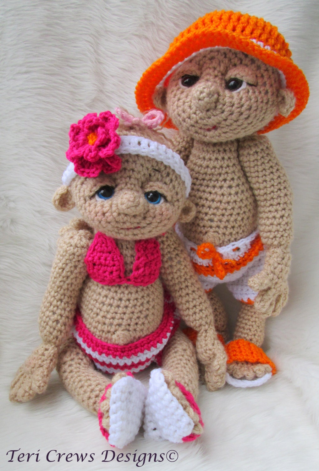 Crochet Doll Pattern Cute : Crochet Pattern Beach Wear Doll Clothes Set for So Cute Baby