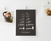 Kitchen Conversions Art Print, Kitchen Posters, Kitchen Art, Conversion Chart, Infographics, Dark Gray 8.5x11