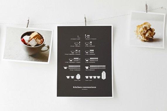 Kitchen Conversions Art Print, Kitchen Posters, Kitchen Art, Conversion Chart, Infographics, Dark Gray 8.5x11