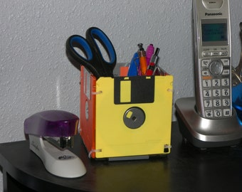 Recycled Floppy Disk Desk Organizer