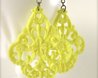 Bright Yellow Earrings Large Yellow Filigree Earrings Dangle Earrings Drop Earrings Chunky Earrings Statement Earrings Bold Jewelry