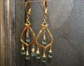 Minty green apatite chandelier earrings