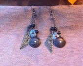 Free Shipping US Only Vintage Seashell Hammered Antique Finish Earrings, Hippie, Boho, Womens Jewelry, Rocker, Long Dangle Earrings