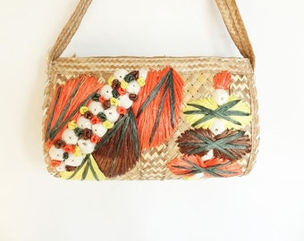 Vintage Purse Straw with Autumn Leaves and Shells