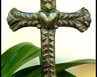 "Metal Cross Garden Plant Stake - 8"" x 12"" Plant Marker with Heart, Garden Art - Haitian Recycled Steel Drum Metal Art, Grave Marker - PS-128"
