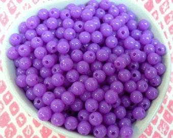 300x 6mm Tiny Purple Coloured Resin Globe beads
