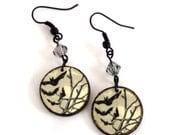 Halloween Earrings Goth Earrings Decoupaged Earrings Spooky Tree with Bats Halloween Fashion Halloween Jewelry Gray Pale Yellow Spooky Night