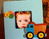Sale DiGGin DumP TrucK Turquoise Chevron Wooden Picture Frame BoYs Room