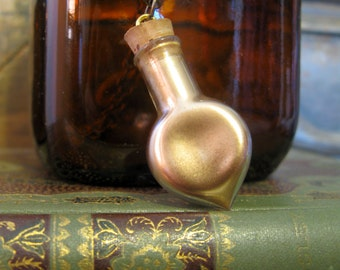 Golden Glass Vial Necklace - Felix Felicis - Artistry To Alchemy