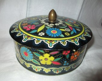 Vintage Daher Tin/Metal Vintage Tin/ Multicolored Lidded Tin/ Made in England Embossed Tin By Gatormom13