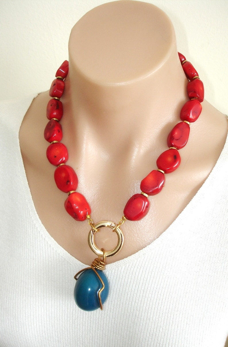 Ashira Natural Red Coral Necklace With Turquoise Blue Tagua