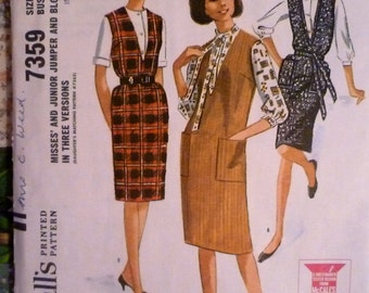 60s V Neck Jumper Pattern McCalls 7359 Bust 38 Blouses Pattern Peter Pan or Tie Collar Blouses UNCUT