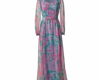 Vintage Pink and Blue Floral Maxi Dress