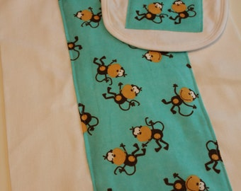 Silly Monkeys on Turquoise Burp Cloth and Bib Set