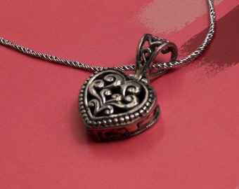Sterling Silver Heart Prayer Box Necklace on Sterling Silver Rope. Gift for Her. Locket Pendant Jewelry