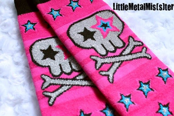 Little Miss Leggings - (Smaller Size) - Bright Pink Skull Leg / arm warmers for your little metal miss or punk rock princess