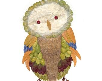 8x10 pressed leaf owl collage
