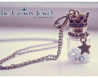 Cute Crown and rhinestones glass Bottle necklace. Crown pendant. miniature bottle  charm necklace vial