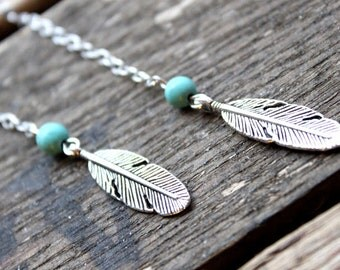 Dangle silver Feather Long earrings with a turquoise bead Boho chic Ethnic Gypsy Native american Handmade