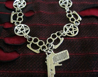 SALE Pentagram Brass Knuckle Handgun Necklace